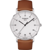 TISSOT 天梭 Everytime 經典雋永手錶-銀x咖啡色錶帶/42mm T1096101603700
