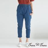 【Tiara Tiara】鬆緊腰七分牛仔褲(藍)