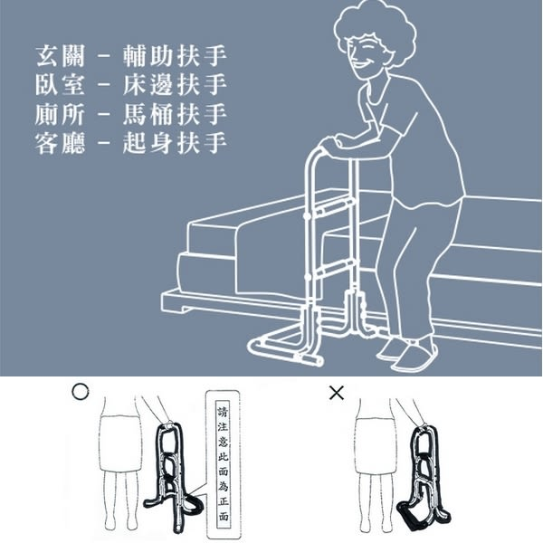 三段式起身扶手架  起身扶手床邊架 (免工具安裝)
