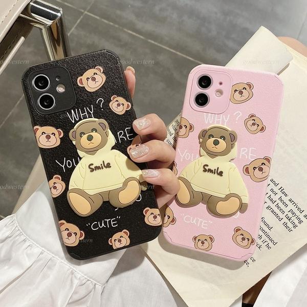 帽T可愛熊|蘋果 11 12 Pro max i12 mini iPhone 11 Pro 鏡頭保護 全包邊殼 小羊皮 立體小熊 防摔 手機殼