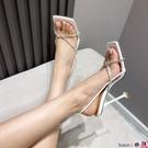 熱賣高跟涼鞋 羅馬時尚細跟水鉆細帶夾趾女涼鞋夏季方頭低幫白色超高跟涼鞋大碼【618 狂歡】