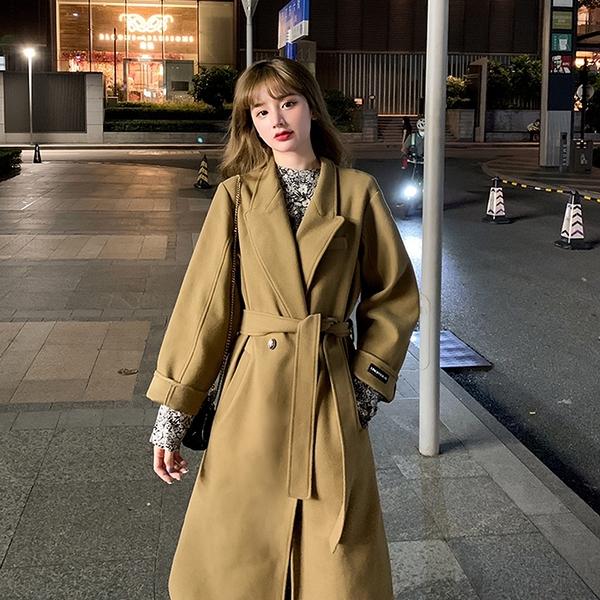 毛呢外套 韓系秋冬駝色氣質中長款綁帶收腰大衣 花漾小姐【現貨】