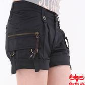 BOBSON 女款打雙摺色布短褲(153-88)