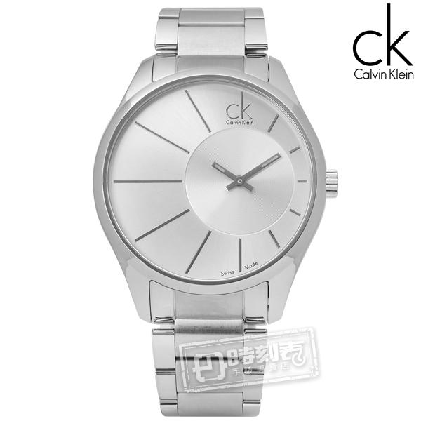 CK / K0S21109 / 都會紳士放射狀視覺不鏽鋼手錶 銀色 43mm