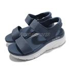 Skechers 涼鞋 D Lux Walker-New Block 女鞋 深藍 白 魔鬼氈 厚底 增高【ACS】 119226SLT