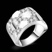 925純銀戒指 鑲鑽-雪花造型生日情人節禮物女配件73aq57【巴黎精品】