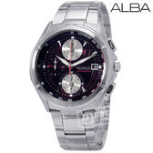 ALBA / 7T92-X056E /  WIRED日系型男精緻時尚三眼計時不鏽鋼手錶  深紅黑色 39mm