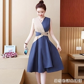 夏季女裝新款胖mm洋裝氣質顯瘦收腰中長款大碼法式復古裙子 卡布奇诺