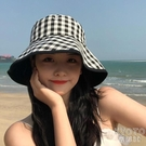 漁夫帽女防曬太陽帽夏天日繫雙面格子顯臉小百搭遮陽遮臉帽子 快速出貨