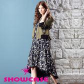 【SHOWCASE】小碎花優雅雪紡前短後長設計長洋裝(黑)
