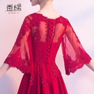 敬酒服新娘春款結婚新款宴會中大尺碼胖mm紅色小禮服裙女顯瘦
