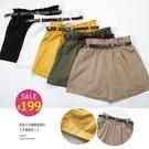 BOBO小中大尺碼【9901】鬆緊棉麻皮帶休閒短褲 共5色 現貨