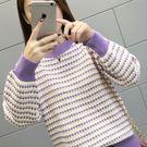 【GZ36】針織上衣 秋冬季韓版套頭毛衣女寬鬆圓領拼色長袖針織打底衫上衣