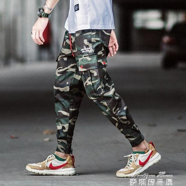 ins工裝褲男潮牌直筒寬鬆嘻哈超火hiphop褲子9分迷彩束腳褲  麥琪精品屋