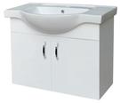 【麗室衛浴】圓弧型磁盆 含 白色鋼琴烤漆浴櫃 D-108 尺寸 80*46.5*H60CM