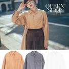 Queen Shop【01023585】絨感單口袋造型襯衫 三色售*現+預*