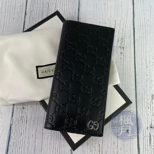 BRAND楓月 GUCCI 古馳 473920 黑色 GG壓紋 對折長夾 皮夾 錢夾 錢包 多卡夾