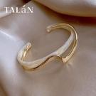 手鐲 輕奢白貝板材手鐲彎曲金屬質感手鍊ins小眾設計韓版時尚網紅手飾 晶彩