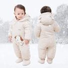 嬰兒連體衣服春秋冬季加厚保暖睡衣冬裝新生兒寶寶外出服抱衣套裝