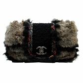 CHANEL 香奈兒 黑色毛呢棕色環保皮草鍊條肩背包 Fantasy Fur Maxi Flap Bag BRAND OFF