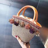 夏天小包包女新款編織流蘇手提水桶包韓版百搭草編單肩斜背包 衣櫥の秘密