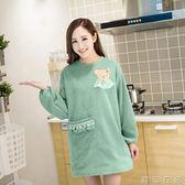百露韓版時尚圍裙可愛廚房全棉工作服打掃廚衛保護衣物成人罩衣  潮流衣舍