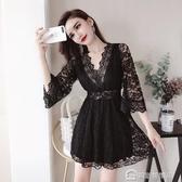 洋裝女韓版時尚氣質V領蕾絲七分袖收腰顯瘦公主裙
