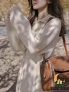 翻領連身裙寬鬆顯瘦長款打底內搭毛衣針織裙【創世紀生活館】