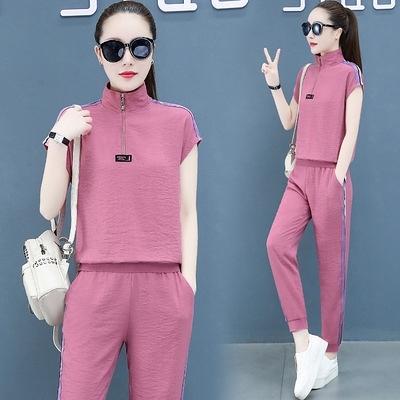 運動套裝女夏季新款時尚冰絲寬松純色洋氣薄款短袖休閑兩件套T122-D1胖妞衣櫥