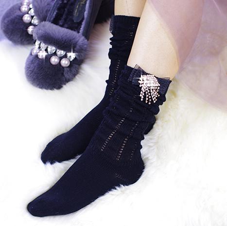 [超豐國際] 可愛手工短襪蝴蝶結堆堆襪 中筒襪