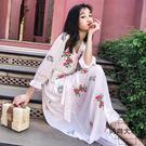 沙灘裙女民族風刺繡收腰繫帶白色連身裙超仙...
