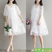娃娃裙 新款女裝文藝長洋裝白色鏤空蕾絲連身裙鉤花波浪邊中長版連身裙 最後一天8折