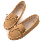 amai舒適升級。磨砂牛皮蝴蝶結綁帶豆豆鞋 棕