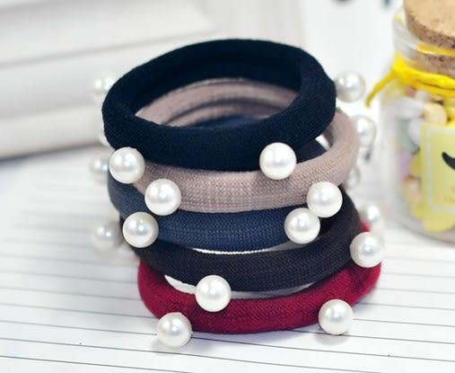 [協貿國際] 韓版高彈力髮圈無縫珍珠百搭皮筋髮飾 (15個價)