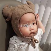 兒童冬天帽 0-3-6-12個月兒童鹿角毛線帽新生嬰兒帽子護耳套頭帽冬天男女寶寶 珍妮寶貝