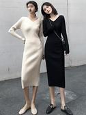 長袖洋裝 2021夏法式復古v領修身針織打底裙坑條中長款氣質顯瘦長袖連身裙 韓國時尚週