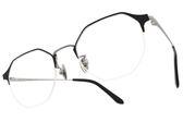 NINE ACCORD 光學眼鏡 TI OWEN C03 (霧黑-霧銀) 紳士眉框造型半框款 平光鏡框 # 金橘眼鏡