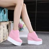 休閒內增高厚底女鞋12cm超高跟坡跟鬆糕鞋