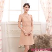 【RED HOUSE-蕾赫斯】圓領素色珍珠腰鍊洋裝(甜美粉)