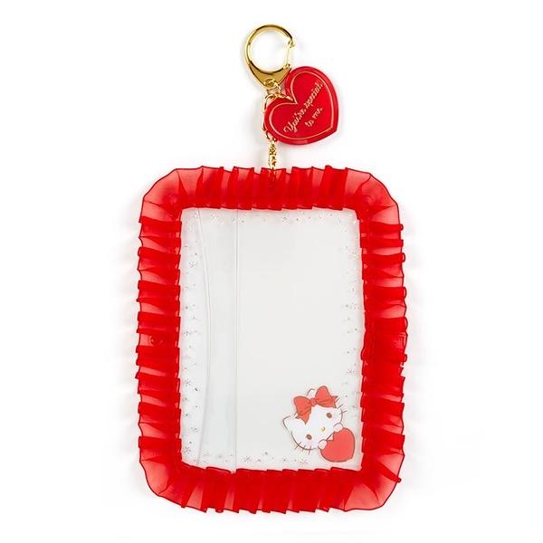 小禮堂 Hello Kitty 蕾絲邊框相框鑰匙圈 透明相框 相片架 (紅 演唱會粉絲收納) 4550337-45239