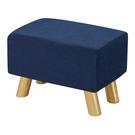 【森可家居】奈德藍色長方凳 10ZX251-6 麻布椅凳 實木腳 北歐風