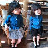 2018春裝新款韓版童裝女童兒童寶寶柔軟蓬蓬紗牛仔裙公主連衣裙  無糖工作室