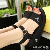 坡跟涼鞋  涼鞋坡跟高跟平底鬆糕鞋厚底防滑百搭女士真皮涼鞋 『歐韓流行館』