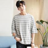 夏季百搭條紋五分中袖韓版寬鬆個性潮流7七分半袖學生短袖t恤男裝 晴光小語