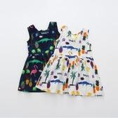 純棉鱷魚先生漏背女童裙子新款韓版無袖公主裙童裝夏季連身裙