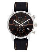CK   Calvin Klein  City 黑x橘時尚皮革手錶( K2G271C1)-黑面/44mm