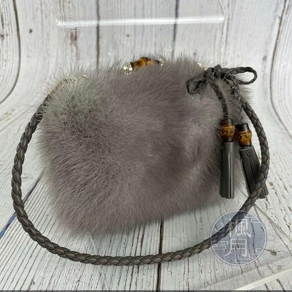 BRAND楓月 GUCCI 古馳 257075 竹節絨毛晚宴包 手提包 毛茸茸 編織提把 金屬飾邊 流蘇 小包 化妝包