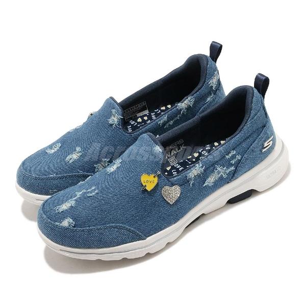 Skechers 休閒鞋 Go Walk 5-Denim Attraction 藍 銀 女鞋 單寧 牛仔 健走鞋 運動鞋【ACS】 124212-DEN