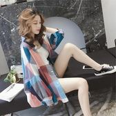 防曬衫-防曬衣心機上衣寬松襯衫女春季新款韓版很仙的復古格子襯衣服 Korea時尚記