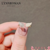 戒指日系天使之翼戒指輕奢小眾設計精致少女時尚開口戒可調節食指戒 芊墨